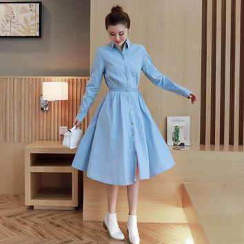 Spring and autumn women polo collar long sleeve long shirt denim