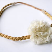 Tan Double Strained Braided Headband with Cream Chiffon Flower