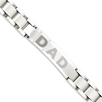 Stainless Steel Brushed & Polished Dad Bracelet