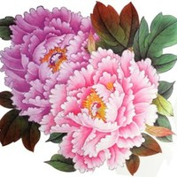 "GGSELL Extra large size pink peony flower temporary tattoos 8.66x8.07"" Inches"""