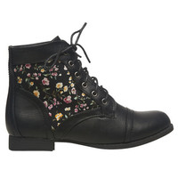 Floral Inset Short Boot   Wet Seal