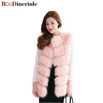 BOoDinerinle New 2017 Winter Coat Women Fur Vest With a Pocket High-Grade Faux Fur Women Fox Fur Long Vest Plus Size:S-4XL PC001