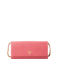Saffiano Wallet on a Chain, Pink (Peonia) - Prada