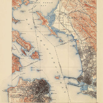 Antique Map of San Francisco and the Bay Area (1899) - USGS Topographic Map - 16x20 - Archival Reproduction