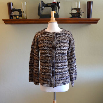 Vintage Fair Isle Sweater Cardigan, Scottish Shetland Islands Wool, Brown Tan and Cream, Hand Frame Knitted, 1960s