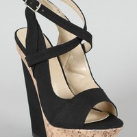 Liliana Peace-3 Open Toe Platform Wedge