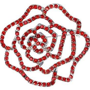 Alilang Womens Silvery Tone Red Rhinestones Floral Flower Cutout Rose Bud Brooch Pin