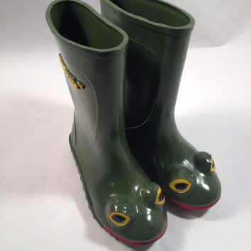 Wellipets vintage 1988 rubber rain boots, green tadpole kids weather boots