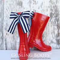 Girls Custom Monogram Red Gloss Rain Boot with Bow