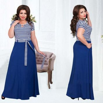 2016 women summer plus size new fit and flare striped short sleeve natural waistline o-neck floor-length dress with sashes