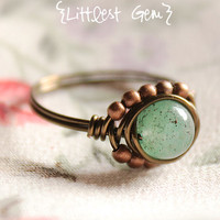 Green Aventurine Boho Ring, wire wrapped jewelry handmade, wire wrapped ring, boho jewelry, unique ring, rustic ring, cocktail ring