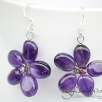 Amethyst Earrings Flower Drop Shape Silver Earring Gem Stone Silver Chandelier Earrings Handmade by Flower GemStone