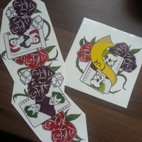 Set of Two - Harley Quinn Inspired Arkham City Tattoo - Temporary Tattoo