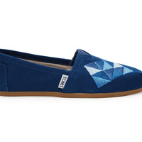 TOMS Ink Canvas Embroidery Women's Classics Blue