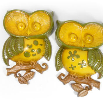 Owl Wall Hanging Set Plaques Metal Sexton Owls Wall Art