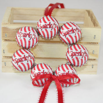 Sparky Bottle Cap Wreath Ornament, Christmas Ornament Bottle Caps, Candy Cane Stripe Christmas Decoration, Recycled Coke Bottle Caps