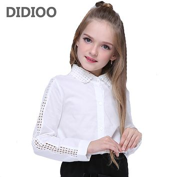 Children Lace Blouses For Girls Kids Tops Cotton White Shirts For School Children Clothing  Students Clothes
