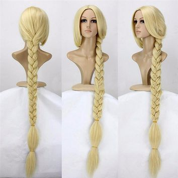 "Tangled Princess 120cm 47"" Straight Blonde Super Long Cosplay Wig Rapunzel Synthetic Hair Anime Wig + Wig Cap"