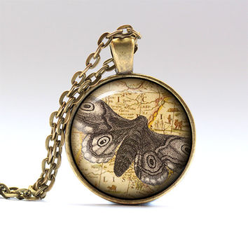 Moth pendant Insect chain Vintage necklace RO126