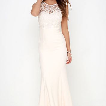 Oak and Elm Cream Lace Maxi Dress