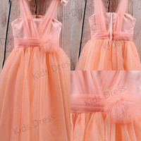 A-line V-neck Tulle Flower Girl Dress With Bowknot