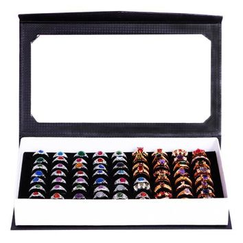 High-grade 72 Slot Ring Box Velvet Jewelry Ring Display Case Box Jewelry Storage