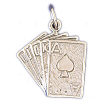 14K WHITE GOLD PLAYING CARDS CHARM #11230