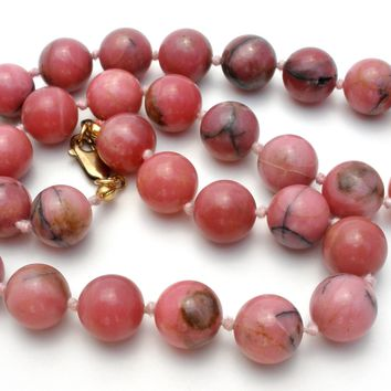 Knotted Rhodochrosite Bead Necklace 925 Vintage 17""
