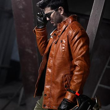 Long Men's Leather Jacket With Belt Warm Coat Leisure Men Jacket Motorcycle Winter Thick Vintage Coats