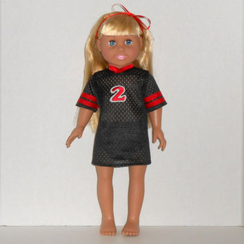 18 inch Doll Black and Red Football Jersey Nightgown with Panties fits American Girl Doll