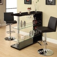 Coaster Bar Table with Two Glass Shelves in Gloss Black Finish