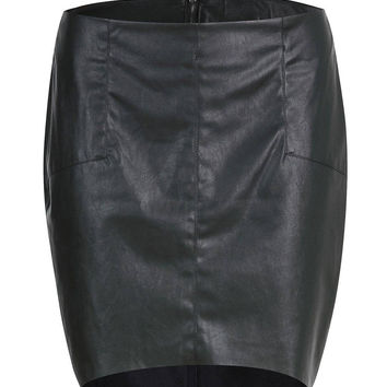 Black Asymmetric Skirt in Leather