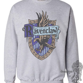 Ravenclaw Crest #2 Fullcolor printed on Light Steel and White Crew neck Sweatshirt
