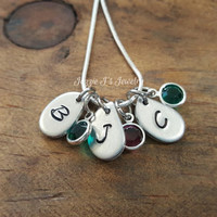Hand Stamped Tear Drop Sterling Silver Necklace, Personalized Mother's Necklace, Gift for Her, Rain Drop Necklace Grandmother Gift