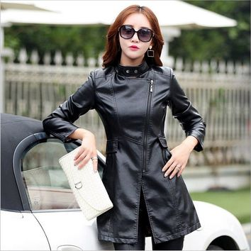 fd427029f1bb M-5XL Leather Coat Jacket Women Fashion Slim Patchwork Long Fema