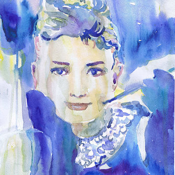 Audrey Hepburn , art , watercolor painting, illustration, Celebrity Portraits, breakfast at tiffany, art print, girl painting, old hollywood