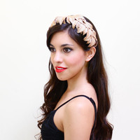 Vintage Leaf Headband Hat - Mid Century 1950s Scalloped Hair Accessory / Toppettes by Brod
