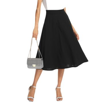 Black Elegant Slant Pocket Side Circle Mid Waist Long Skirt  Women Office Lady Workwear Solid Skirts