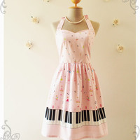 MUSIC IN PINK Dress Piano Dress Music Band Dress Retro Party Cocktail Bridesmaid Choir Concert Prom Singer Dress -Size S -Ready to ship