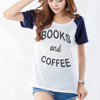 Books and Coffee Shirt T Shirt for Women Cute Shirts for Teens Girl Cool Tees Funny Tumblr Grunge Hipster Fan Instagram Twitter Pinterest