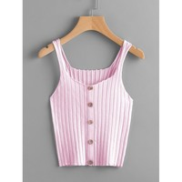 Button Up Rib Knit Top