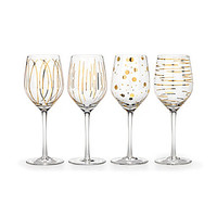 Mikasa Cheers Gold Metallic Wine Goblet, Set of 4 - Gold