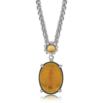 18K Yellow Gold and Sterling Silver Necklace with an Oval Amber Cameo Pendant