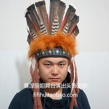 Indian feather headdress and general motors chief hat high-grade feather ornaments to make to order