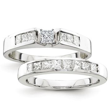 Certified 1.25 Ct. Princess Diamond Bridal Engagement Ring Set with Side Stones in 14K White Gold