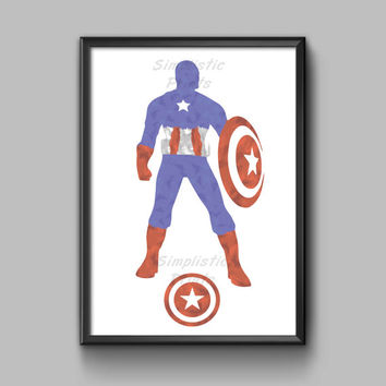 Captain america watercolor, minimalist wall art, wall decor 8x10, 11x14, 13x19