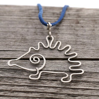 Cute Little Hedgehog Necklace, wire wrapper and hammered stainless steel surgical wire Pendant, blue suede leather cord
