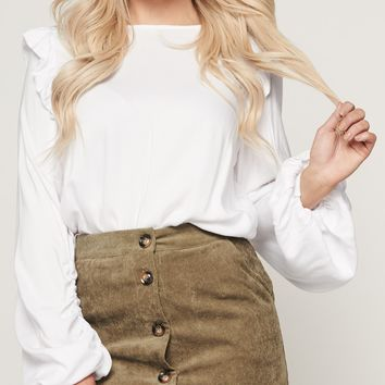 A Simple Favor Ruffled Top (White)