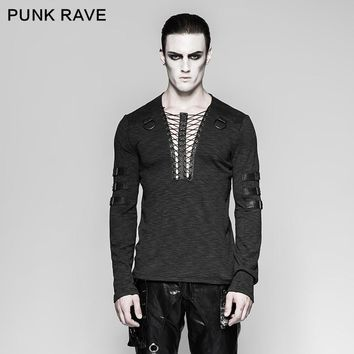 Punk Rave Men's Gothic Steampunk Long Sleeve T-shirt Chest Strap Deep V-neck Sexy Tops Steampunk Street Cool T-shirt