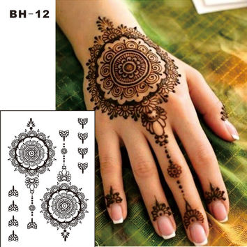 #BH-12  1 piece Black Henna Temporary Tattoo for Hands  Inspired Body Stickers